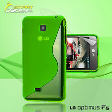Green S Curve Gel Case+ Free SP for LG Optimus F5 4G P875 Jelly Tpu soft cover