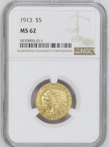 1913 NGC MS62 $5 Gold Indian Incredible Eye Appeal