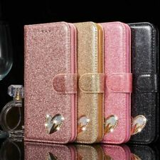 Fashion Leather Bling Glitter Heart Wallet Book Case Cover  Apple iPhone SE 2020