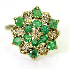 Large Natural Emerald & Diamond Cluster 9ct Yellow Gold ring size M 1/2 ~ 6 1/2