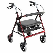 Heavy Duty Aluminum Rollator Walker, Loop Brake, Red, Weighs 20 lbs,400 Wt Cap