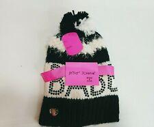 Betsey Johnson Hat Bennie Glove BABE Gift Set Bow Stud Pompom Winter Women Black