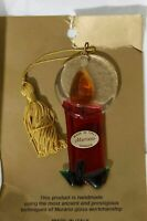 Murano Venezia Handmade Art Glass Christmas Ornament Candle Made in Italy