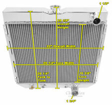 1967-1970 Ford Mustang Radiator, Polished Aluminum 3 Row Champion Radiator, #340