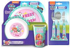 Paw Patrol Girls 6 Piece Tableware Set - Dinner Set & Cutlery *NEW