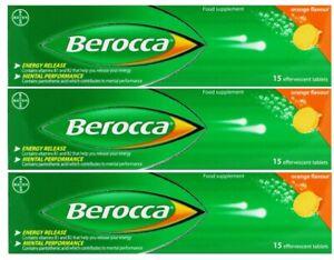 Berocca Energy (3 x 15 Pack) Orange Flavour Effervescent Tablets *BB: 2023*