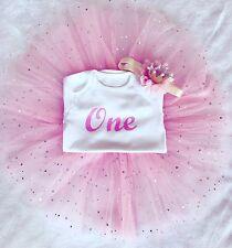 Baby Girls 1 2 3 4 Birthday Full Outfit Tutu Skirt Dress Pink Headband Tiara