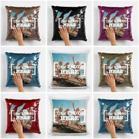 PERSONALISED CUSTOM LUXURY SEQUIN CUSHION COVER CASE YOUR IMAGE/PHOTO/LOGO PRINT