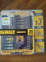 DeWALT 30PC SCREWDRIVING BIT SET Magnetic Screw Lock Sleeve *ToughGrip Case* NEW