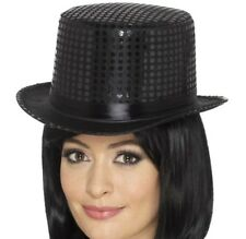 Adult Sequin Top Hat Fancy Dress Party Cabaret hat Black by Smiffys New