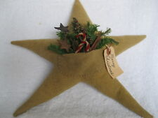 Primitive Christmas Star Pillow With Pocket Of Goodies