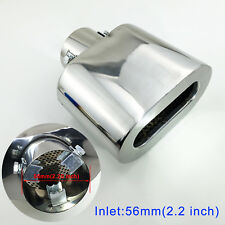 "Chrome Car Rear Muffler 56mm 2.2"" Universal Inch Exhaust Tail Pipe End Tip Cover"