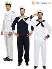 Mens Sailor Complete Outfit + Hat Navy Fancy Dress Officer Marine Seaman Costume