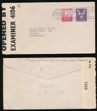 USA WW2 1942 BRITISH CENSOR 7223 +BERMUDA INTERCEPTION CENSOR 4106 IC to ST GALL