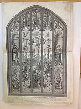 RARE COPPERPLATE PRINT - EAST WINDOW - St. MARGARET'S CHURCH, WESTMINSTER (1768)