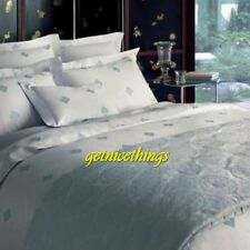 Yves Delorme Silence Silver 2 Pillow Shams Medallions 100% Cotton Sateen New