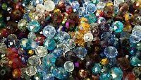 Lot de 50 perles à facettes cristal de 3 à 8mm mixte