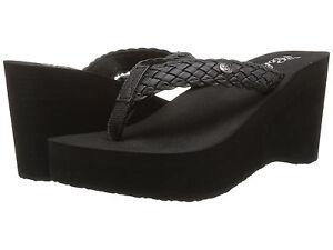 Women Cobian Zoe Wedge Flip Flop Sandal ZOE10-001 Black 100% Authentic Brand New