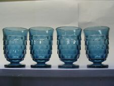 Vintage 4-Whitehall Indiana Glass Colony Riviera Blue Teal Cubist Juice Glass