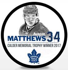 Auston Matthews Toronto Maple Leafs 2017 Calder Memorial Trophy NHL Hockey Puck