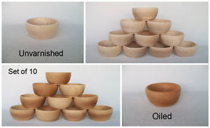 """Small Wooden Bowl Rise Honey 4"""" 10cm Plain Oiled"""