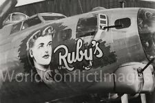 USAAF WW2 B-17 Bomber Ruby's Raiders 8x10 Nose Art Photo 385th BG 550th BS WWII