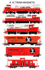 Illinois Central Orange & White set of 6 magnets Andy Fletcher w/ train booklet