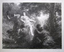 """HENRI FANTIN-LATOUR Signed 1896 Original Vintage Lithograph """"Pastorale"""""""
