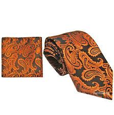 New Brand Q Men's Micro Fiber Paisley Neck Tie & Hankie Set rust black formal