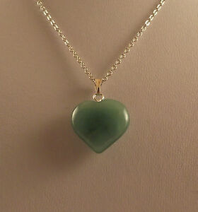 "Various semi precious gemstone heart pendants and 18"" silver plated chains."