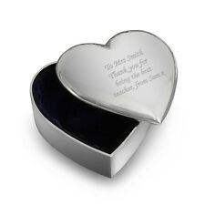 Personalised Silver Finish Heart Trinket -Engraved Free -Birthdays, Graduation