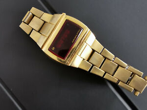 Vintage Hamilton QED LED watch gold filled