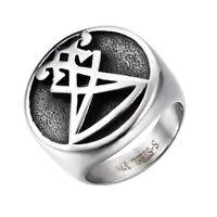 Mens Boys Sigil of Lucifer Stainless Steel Seal Satan Stainless Steel Ring Rings