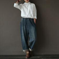Women's Casual Soft Denim Jeans Wide Leg Pants Trousers with Elastic Waist Blue