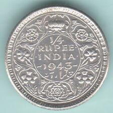 BRITISH INDIA 1943 KING GEORGE VI 1/4 RUPEE RARE SILVER COIN NEAR ABOUT UNC