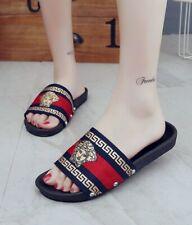 European Designer Style Red/Blue/Gold Medusa Sandals Size US 9.Euro 41