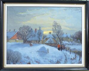 GUSTAV P. RIMMER! EVENING WINTER SCENERY WITH FIGURES AT THE FARMHOUSE
