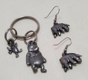 Pre-owned DISNEY Winnie the Pooh Collectible Keychain Pewter Eeyore Earrings