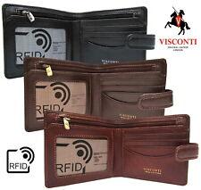 Notas de la cartera para hombre de Cuero Tarjetas Identificación Rfid Calidad Nuevo en caja de regalo Visconti TSC41