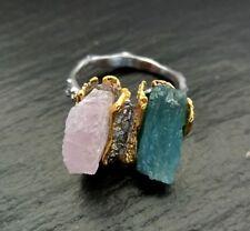 Apatit & Morganit Rohstein Ring 925 Sterlingsilber Handarbeit Größe 57 R1116