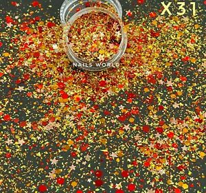 X31. Christmas MIX STAR Hexagon Holographic Nail Art Glitter Sequins Xmas Gold