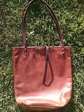 Handmade Brandy Red Brown Leather Tote Bag Market Tote hand painted straps