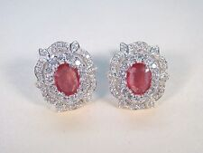 PINKISH-ORANGE & WHITE SAPPHIRE EARRINGS 3.83 CTW - WHITE GOLD over 925 SILVER