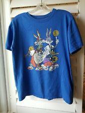 Vintage Medium Looney Tunes Bugs Bunny Taz Wiley Daffy Basketball Blue T-Shirt
