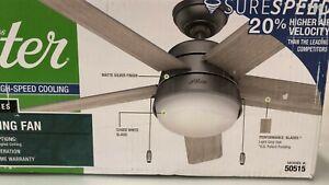 Hunter 46 in. LED Indoor Matte Silver Light Grey Oak Ceiling Fan with Light