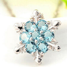 Blue Crystal Snowflake Frozen Flower XMAS Jewlery Silver Plated Necklace Pendant