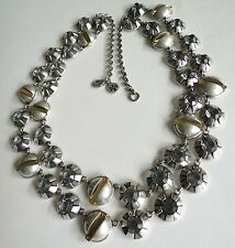 """Tory Burch Light Blue Crystal & Silvertone Double Strand 18-25"""" CIRCLES Necklace"""