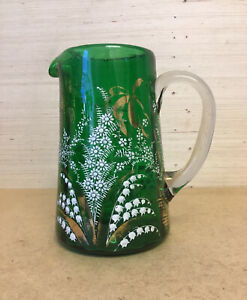 NICE LOOKING VICTORIAN ANTIQUE BOHEMIAN STYLE HAND PAINTED GREEN GLASS JUG EWER