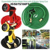 Deluxe 25 50 75 100 Ft Expandable Flexible Garden Water Hose w/ Spray Nozzle