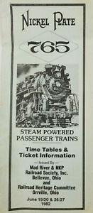 Nickel Plate 765 1982 Mad River NKP Railroad Ohio Passenger Train Timetable Form